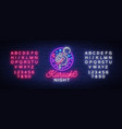 karaoke night neon sign luminous logo vector image