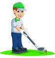 funny men cartoon playing golf vector image