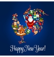 Chinese New Year rooster greeting card vector image