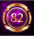 eighty two years anniversary celebration with vector image