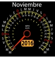 2016 year calendar speedometer car in Spanish vector image