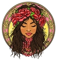 Portrait of beautiful woman in floral border vector image