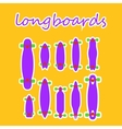 longboard shapes and types on a colored background vector image