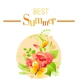 Summer icon with nature elements - gladiolus vector image