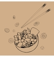 Bowl with japanese food vector image