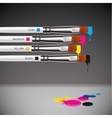CMYK brushes on grey background vector image