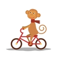 cute monkey with scarf on transport vector image
