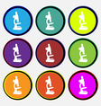 Microscope icon sign Nine multi colored round vector image