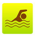 swimming water sport sign brown icon at vector image
