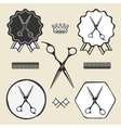 Vintage barber shop scissors symbol emblem label vector image