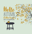 autumn landscape on coffee theme with cup vector image vector image