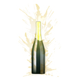 Bottle of sparkling wine made of colorful splashes vector image