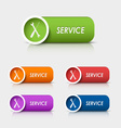 Colored rectangular web buttons service vector image