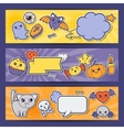 Halloween kawaii horizontal banners with cute vector image
