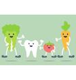 teeth and vegetable best friend vector image vector image