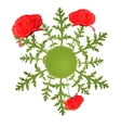 spring circular background with poppy vector image vector image
