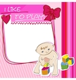 Postcard small child playing with blocks vector image