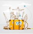 Vacation travelling composition with yellow bag vector image