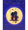 Boy and girl looking at the moon Romantic night vector image