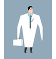 Doctor in white coat Doc with stethoscope Medical vector image