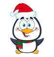 happy christmas penguin character vector image