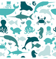 Underwater seamless pattern with silhouettes vector image