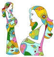Pregnant girls silhouette vector image