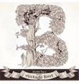 Fable forest hand drawn by a vintage font - B vector image vector image