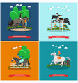 set of horse concept posters in flat style vector image