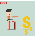 Business man trying to catch money - - EPS1 vector image