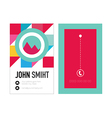 Clean Style Business card with colorful triangles vector image