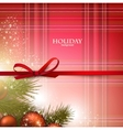 Christmas background with red bow and fir twigs vector image