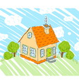 Kids drawing of new house on nature background vector image