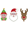 portraits of santa elf and reindeer vector image vector image