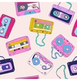 Seamless pattern of retro cassette tapes vector image vector image