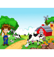 Farm background with farmer and animals vector image vector image