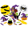 African American Witch - Halloween Set vector image