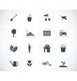 black gardening icons set vector image