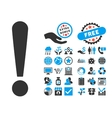 Exclamation Sign Flat Icon With Bonus vector image