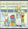 family travel by air in flat vector image