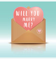 open envelope with heart will you marry me vector image