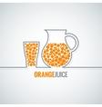 orange juice glass bottle line background vector image