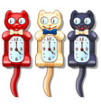 set of wall clocks with funny cats vector image