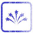 fireworks burst framed textured icon vector image