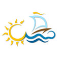 boat on the waves and the sun vector image vector image