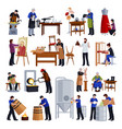 traditional craftspeople flat icons set vector image
