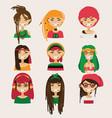 set with lovely rastafarian girls vector image