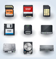 Data storage icon collection vector image