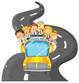 Students riding on school bus vector image