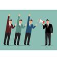 Businessman with a megaphone leading the business vector image